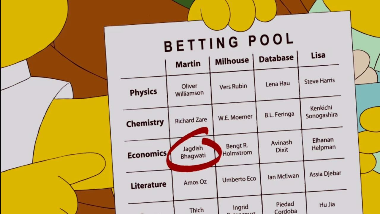 O personagem Milhouse dos Simpsons, acertou em cheio o Nobel desse ano, seria ele um economista? Fonte: FOX